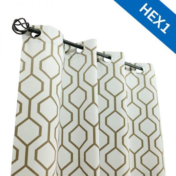 รูปผ้าม่านตาไก่ HEX1 ครีม